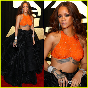 Rihanna Slays In Orange & Black on Grammys 2017 Red Carpet