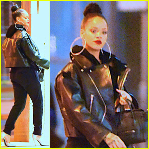 Rihanna Wears Giant Hoop Earrings with Her Leather Jacket!