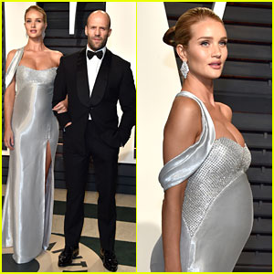Pregnant Rosie Huntington-Whiteley Accentuates Baby Bump at Vanity Fair Oscars Party 2017 with Jason Statham!