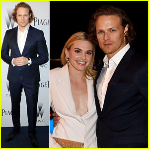 Sam Heughan & Girlfriend MacKenzie Mauzy Make Public Debut at Oscars Party!