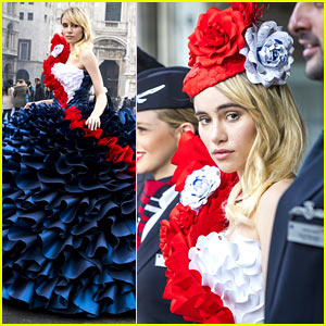 Suki Waterhouse Models Very British Dress for Photo Shoot in Italy
