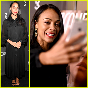 Zoe Saldana Snaps Selfie With 'Los Angeles Confidential' Cover at Her Celebration