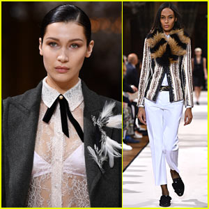 Bella Hadid & Joan Smalls Suit Up for the 'Lanvin' Paris Fashion Week Show