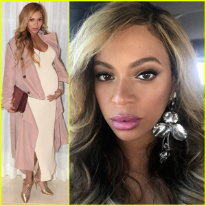 Beyonce Dresses Up Her Growing Baby Bump in Pale Pink