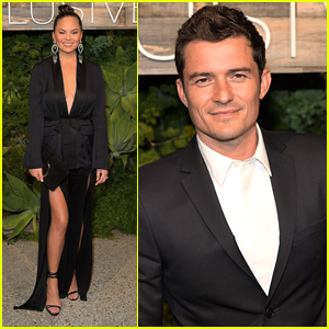 Chrissy Teigen & Orlando Bloom Arrive in Style for H&M Conscious Dinner