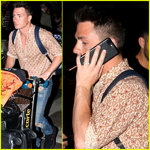 Colton Haynes Flashes Engagement Ring at Airport with Fiance Jeff Leatham