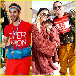 Darren Criss, Ashlee Simpson, & Evan Ross Go Skiing for Operation Smile Charity