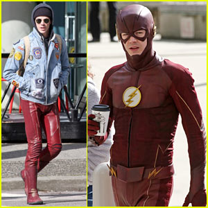 Grant Gustin Stays in Character During His Coffee Break on Set of 'The Flash'