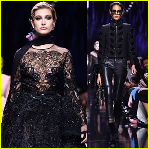 Hailey Baldwin & Cindy Bruna Are Goth Princesses in 'Elie Saab' Fashion Show