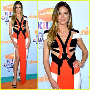 Heidi Klum Looks Pretty in Orange at the Kids' Choice Awards