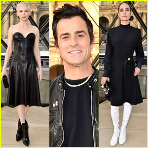 Michelle Williams, Justin Theroux, & Jennifer Connelly Sit Front Row at Louis Vuitton's Paris Show