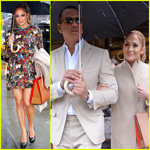 Jennifer Lopez & Alex Rodriguez Step Out for Rainy Day Lunch!