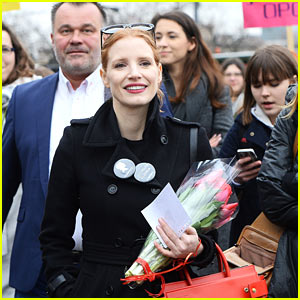 Jessica Chastain Attends the International Women's Day March in Poland