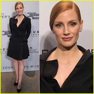 Jessica Chastain Wears Little, Black Dress to 'Zookeeper's Wife' Premiere in Washington, DC