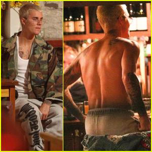 Justin Bieber Goes Shirtless at New Zealand Bar