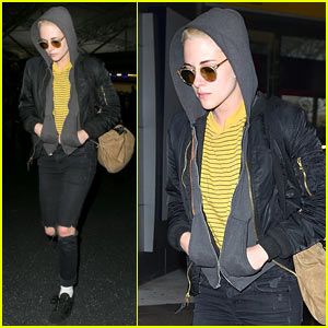 Kristen Stewart Covers Up New Buzzed Hair Arriving in NYC