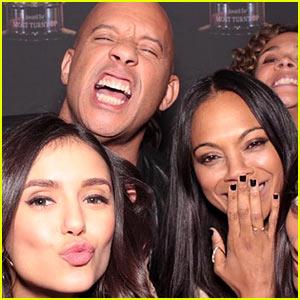Nina Dobrev Parties With Vin Diesel, Zoe Saldana, & More at Vin's Sister's Birthday