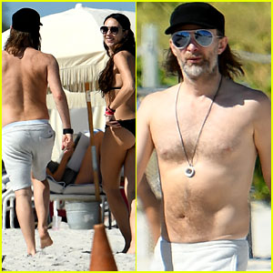 Radiohead's Thom Yorke Goes Shirtless in Miami with His Girlfriend Dajana Roncione