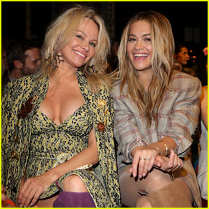 Rita Ora & Pamela Anderson Sit Front Row at Vivienne Westwood Show in Matching Boots