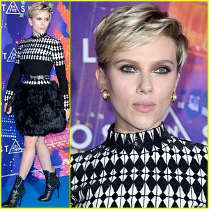 Scarlett Johansson Wears Long-Sleeved Dress with Feathers for 'Ghost in the Shell' Paris Premiere!