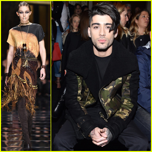 Zayn Malik Watches Gigi Hadid Walk For Balmain in Paris