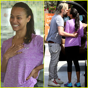 Zoe Saldana & Husband Marco Perego Share Cute Kiss During Family Outing!
