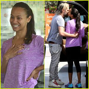 Zoe Saldana & Husband Marco Perego Share Cute Kiss During Family Outing!
