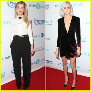 Cara Delevingne Accepts Amber Heard's Award at Unite4: Humanity Gala