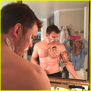Anna Faris Shares Shirtless Pic of Chris Pratt Getting Ready for 'Guardians' Premiere!