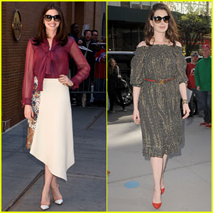 Anne Hathaway Continues Wearing Sustainable Looks on NYC Press Tour!