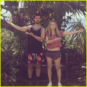 Billie Lourd & Taylor Lautner Couple Up Poolside in St. Barts