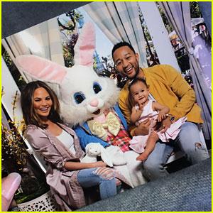 Chrissy Teigen & John Legend's Daughter Luna Meets the Easter Bunny