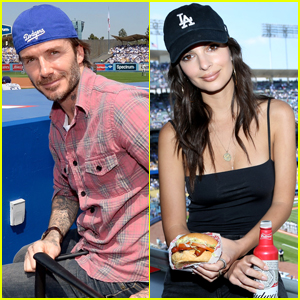 David Beckham & Emily Ratajkowski Head to the Ball Game For Dodgers Opening Day!