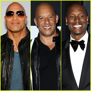 Dwayne Johnson, Vin Diesel, & Tyrese Gibson Bring the Heat at 'Fate of the Furious' Premiere