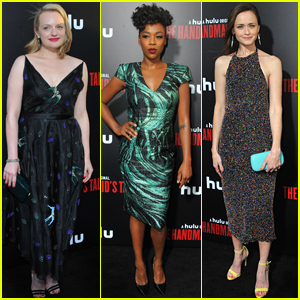 Elisabeth Moss, Samira Wiley, & Alexis Bledel Stun at 'The Handmaid's Tale' Premiere