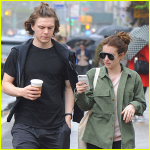 Evan Peters Pulls Off the Ponytail Look in New York City.