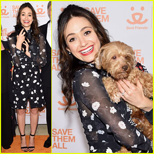 Emmy Rossum Cuddles With Homeless Pets at Best Friends Benefit To Save Them All