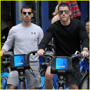 Nick & Joe Jonas Go For Brotherly Citi Bike Ride in Little Italy
