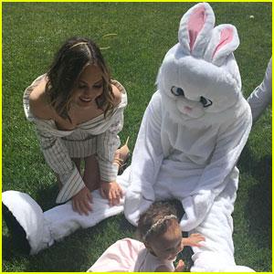 Kanye West & John Legend Dress Up as the Easter Bunny!