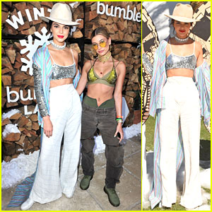 Kendall Jenner & Hailey Baldwin Buddy Up at Winter Bumbleland