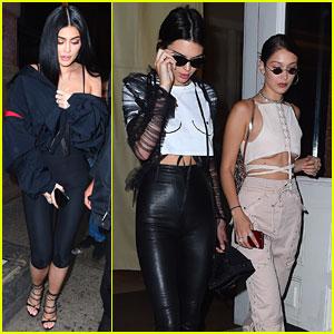 Kendall & Kylie Jenner & Bella Hadid Attend Travis Scott Birthday Party