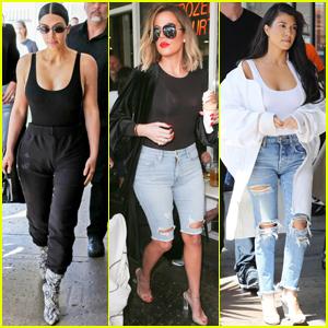 Kim, Khloe & Kourtney Kardashian Have a Girl's Lunch Together