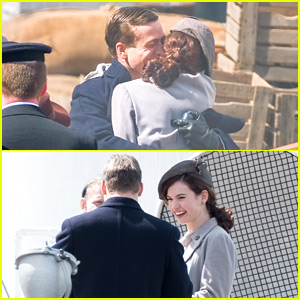 Lily James & Glen Powell Look Like They're Having a Blast Filming 'Guernsey'