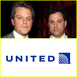 Matt Damon Kicked Off United Flight by Jimmy Kimmel in Spoof Ad - Watch Now!