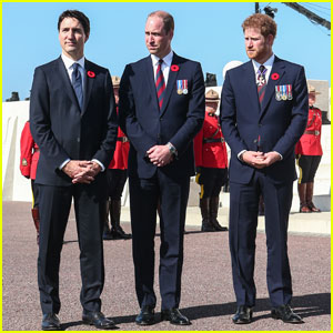 Princes William & Harry Meet Up With Canadian Prime Minister Justin Trudeau in France