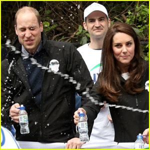 Prince William Gets Drenched in Water at London Marathon