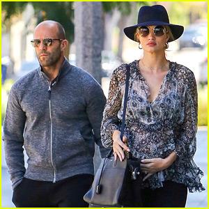 Pregnant Rosie Huntington-Whiteley Cradles Baby Bump While Shopping with Jason Statham