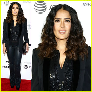 Salma Hayek Sparkles in Leather for '11th Hour' Screening at Tribeca Film Festival