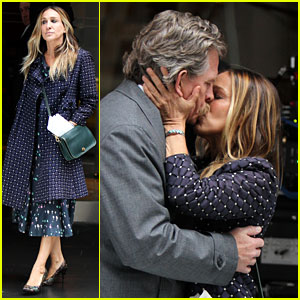 Sarah Jessica Parker & Thomas Haden Church Kiss on Set of HBO's 'Divorce'
