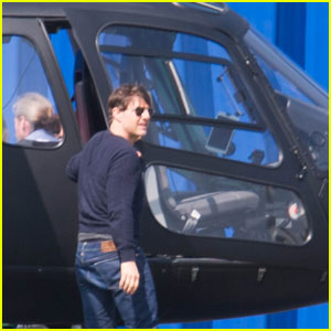 Tom Cruise Arrives By Helicopter On 'Mission Impossible 6' Set